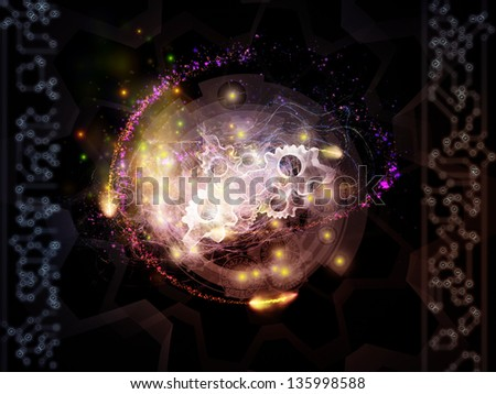 Backdrop of various technology related elements on the subject of industry, science and education - stock photo