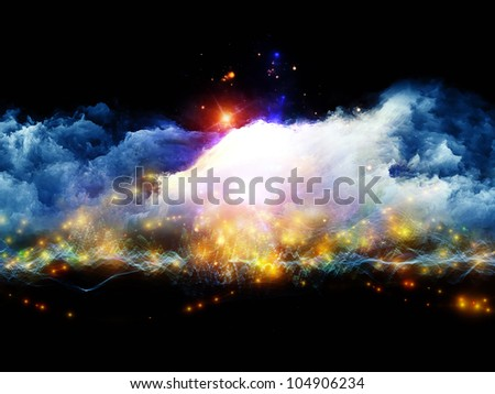 Backdrop on the subject of art, spirituality, painting, music , visual effects and creative technologies  composed of clouds of fractal foam and abstract lights - stock photo