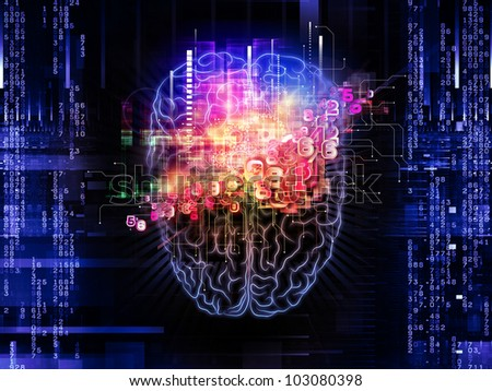Backdrop on the subject of intelligence,  consciousness, logical thinking, mental processes and brain power composed of head outlines, lights and abstract design elements - stock photo