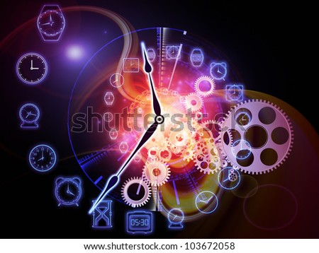Backdrop on the subject of scheduling, temporal and time related processes, deadlines, progress, past, present and future composed of gears, clock elements and abstract design elements - stock photo