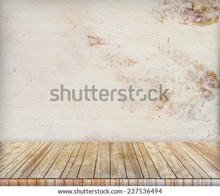 Backdrop sandstone wall and wood slabs arranged in perspective texture background in natural colors and patterns. - stock photo