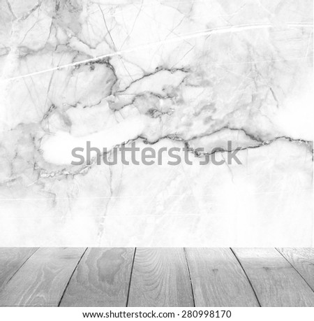 Backdrop white marble wall and wood slabs arranged in perspective texture background. - stock photo