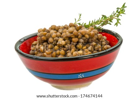 Backed lentils with thyme - stock photo