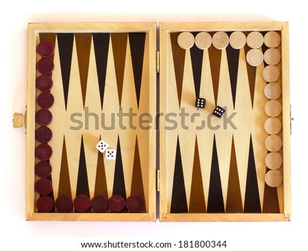 Backgammon board against a white background (isolated) - stock photo