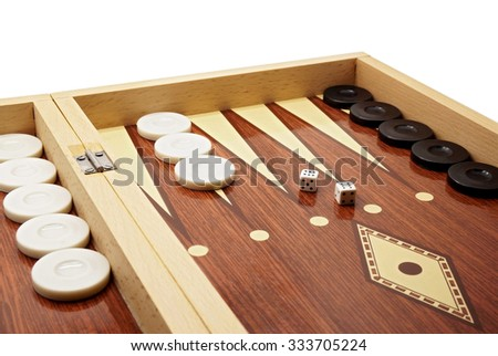 Backgammon Game Board with Black and White Pieces and Dice - stock photo