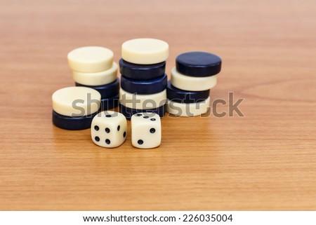 Backgammon set with dice - stock photo