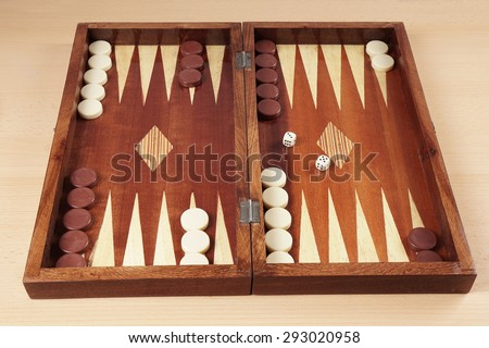 backgammon wooden board game from greece                               - stock photo