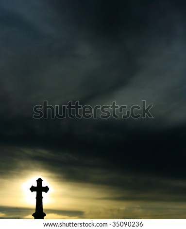 Background a  Silhouette of a Cross at Sunset - stock photo
