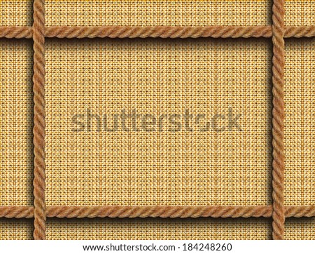 Background a wattled frame with four ropes - stock photo