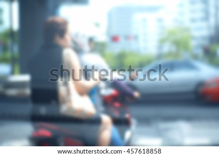 Background abstract blurred of motorcycle Stop waiting for the traffic light