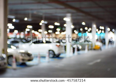 Background abstract blurred of Parking lot