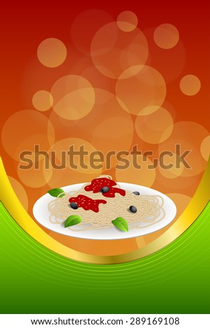 Background abstract food pasta spaghetti Italy green red yellow frame vertical gold ribbon illustration - stock photo