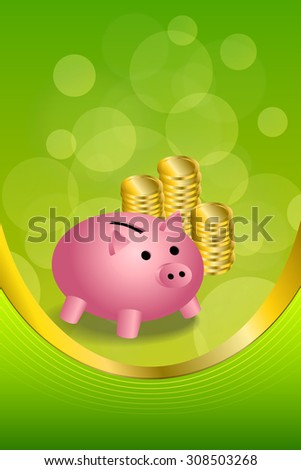 Background abstract green gold pink pig moneybox money coin vertical frame illustration