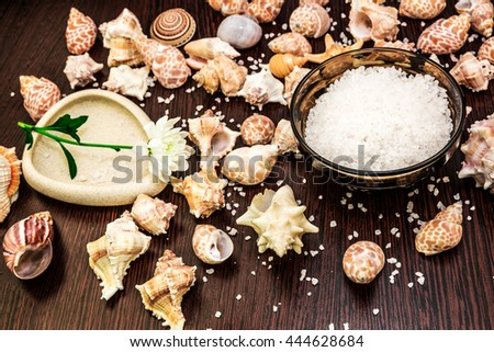 Background abstract spa, sea salt, flower