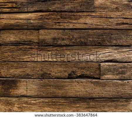background and texture of old wood stripe decorative fence wall surface - stock photo
