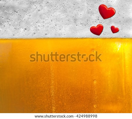Background beer with foam and bubbles .The texture of the glass with beer. Droplets on freshly poured beer. Mug of cold beer close-up. Copy-space for advertising.  - stock photo