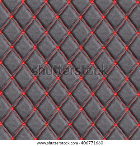 background black leather with red stitching rhombus
