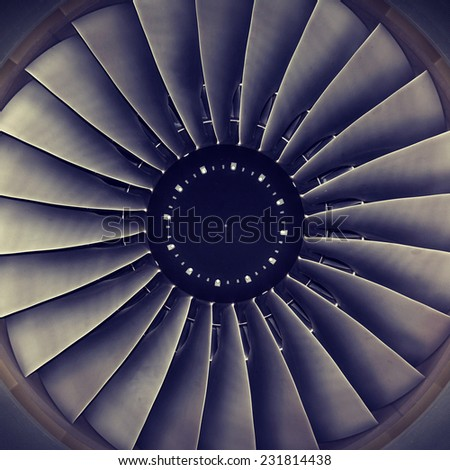 background, blade turbine engine civil aircraft closeup - stock photo