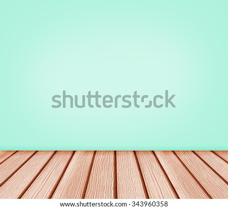 Background blank empty wall and wood floor in a blue green color. - stock photo