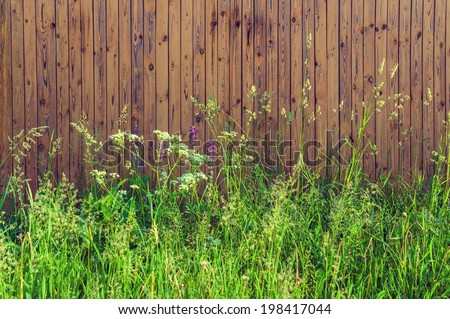 Background blank wooden fence overgrown with tall grass in the countryside vertical - stock photo