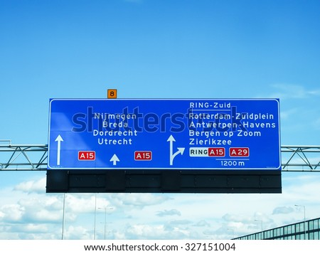 background blue sky traffic travel road in Europa, in May 2015 - stock photo