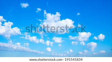 Background blue sky with white floating cumulus clouds  move far away - stock photo