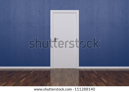 Background Blue Wall with parquet floor and white door - stock photo