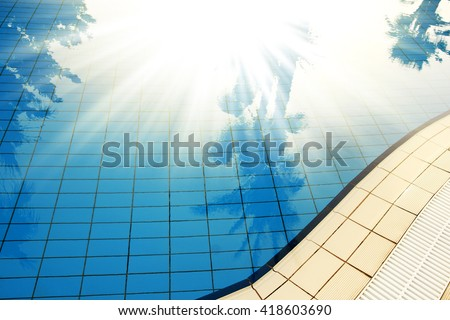 background blue water pool - stock photo