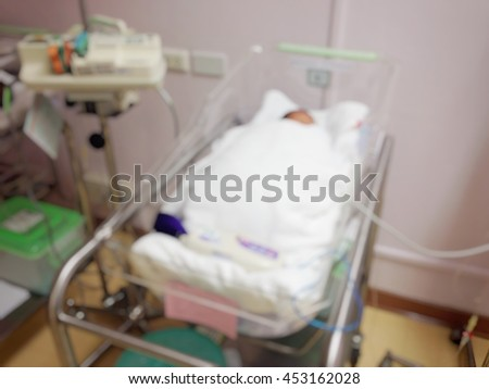 Background blur newborns in incubators. Couch after birth in hospital.