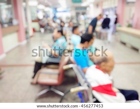 Background blur the number of patients waiting for treatment in hospital due to bad weather. People get sick easily.