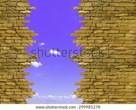 Background brick old ruins isolated on sky background. - stock photo