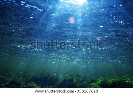 background bubbles under water - stock photo