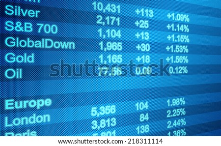 Background business, abstract image of a computer screen of Global Markets - stock photo