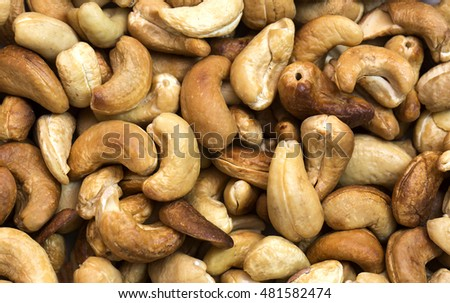 background cashew close-up shot