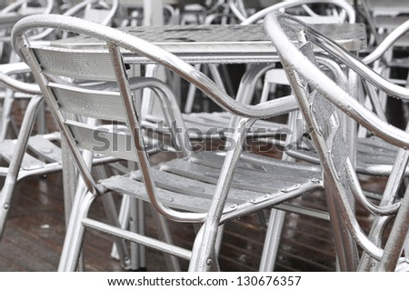 background chairs aluminum with water drops