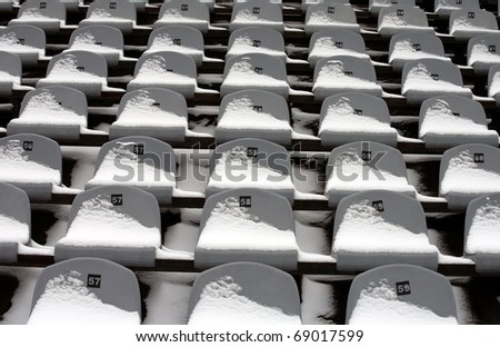 Background chairs at stadium , winter - stock photo