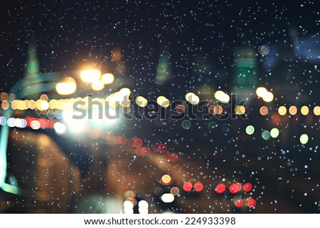 background city lights snow winter christmas - stock photo