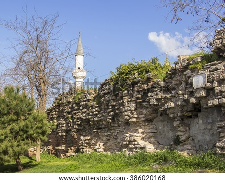 background cityscape view of the remains of the walls of the ancient Constantinople  at Istanbul - stock photo