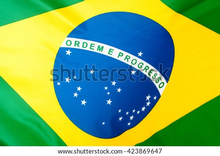 Background - Close up of the silky Brazilian flag