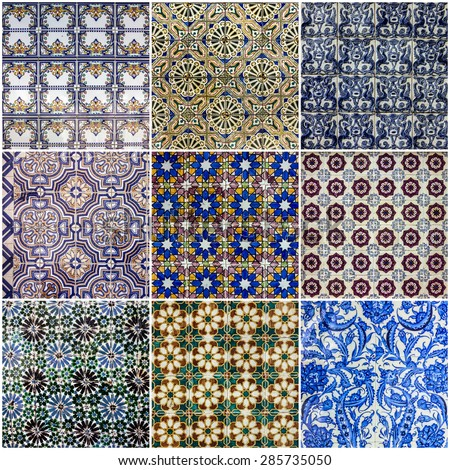 Background collage. Ceramic tile, museum Azulejo, Lisbon, Portugal. - stock photo