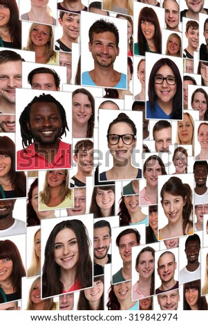 Background collage group portrait of multiracial young happy smiling people