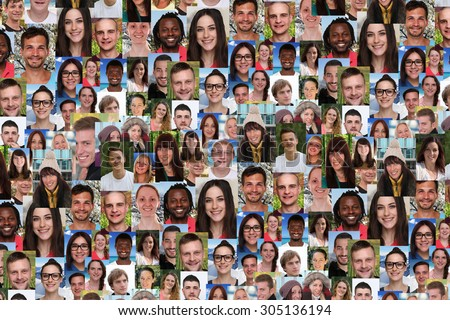 Background collage large group portrait of multiracial young smile smiling people social media - stock photo