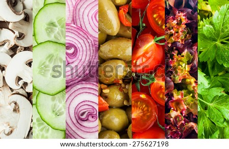 Background collage of diced fresh vegetables for a healthy vegetarian diet showing mushrooms, cucumbers, olives, tomato, frilly lettuce and parsley in parallel bands - stock photo