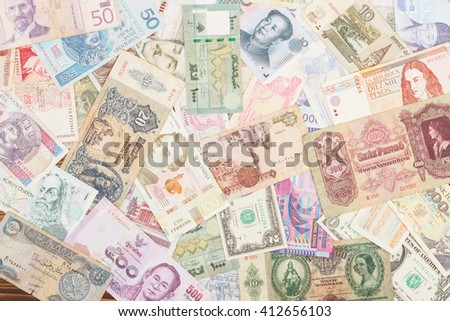 Background: Collection from different money bills