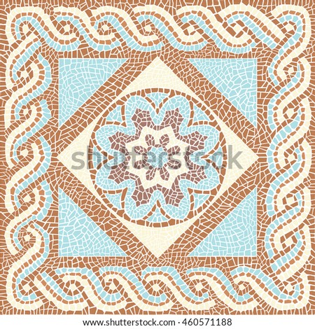 Background color mosaic in the ancient style Stock illustration - stock photo