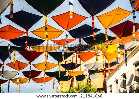 Background colorful street decoration,Madrid - stock photo