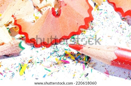 background colors with the red pencil to elementary school - stock photo