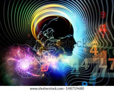 Background composition of  human feature lines and symbolic elements to complement your layouts on the subject of human mind, consciousness, imagination, science and creativity - stock photo