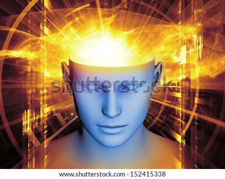 Background composition of  human head and symbolic elements to complement your layouts on the subject of human mind, consciousness, imagination, science and creativity