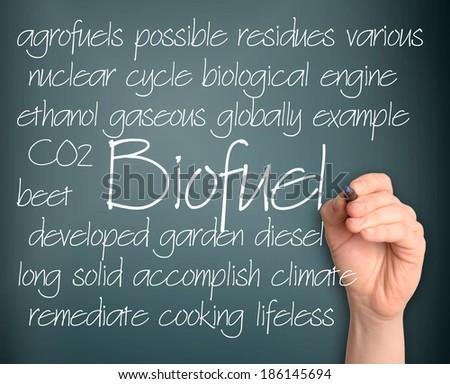 Background concept illustration of biofuel renewable fuel handwritten on blackboard - stock photo